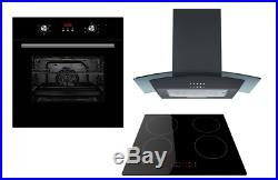 Cookology Black Electric Fan Oven, Touch Induction Hob & Curved Cooker Hood Pack