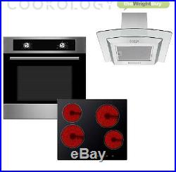 Cookology Electric Static Oven, Touch Ceramic Hob & Curved Glass Hood Pack