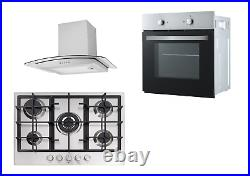 Cookology Fan Oven, 70cm 5 Gas Hob/Wok Burner and Curved Glass Hood in SS Pack