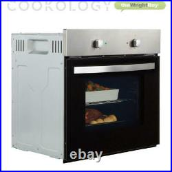 Cookology Fan Oven, 70cm 5 Gas Hob and Curved Glass Hood in Stainless Steel Pack