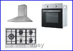 Cookology Fan Oven, 70cm 5 Gas Hob and Stainless Steel Chimney Cooker Hood Pack