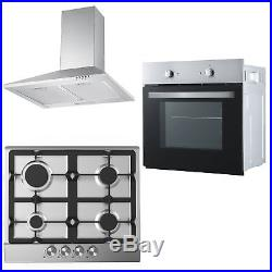 Cookology Fan Oven, Cast-Iron/Stainless Steel Gas Hob & 60cm Cooker Hood Pack