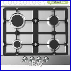 Cookology GH605SS Gas Hob & 60cm Curved Glass Chimney Cooker Hood Pack