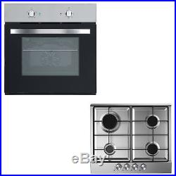 Cookology Single Electric Fan Forced Oven & 60cm Stainless Steel Gas Hob Pack