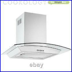 Cookology Solid Plate Electric Hob & 60cm Curved Glass Chimney Cooker Hood Pack