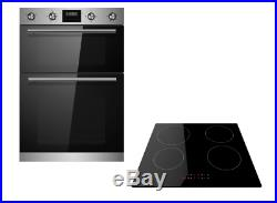 Cookology Stainless Steel Built-in Electric Double Oven & Induction Hob Pack