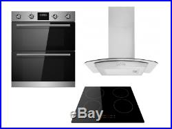 Cookology Stainless Steel Double Oven, Induction Hob & Curved Hood Pack