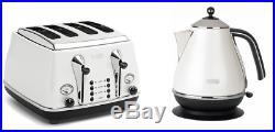 Delonghi CTO4003W KBO2001W Icona 4 Slice Toaster & Kettle PACK White