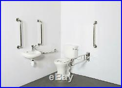 Doc M Pack Disabled Bathroom Suite Basin Sink Tap Stainless Steel Grab Rails WC