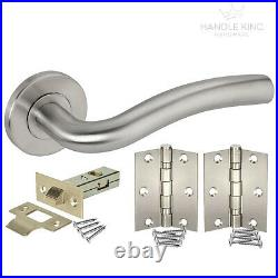 Door Handle Pack with Brushed Stainless Steel Latch & Hinges