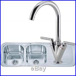 Double Bowl Stainless Steel Inset Kitchen Sink & Chrome Mixer Tap Pack (KST045)