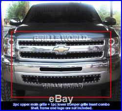 Fit 2007-2013 Chevy Silverado 1500 Black Rivet Mesh Grill Replace Combo Pack