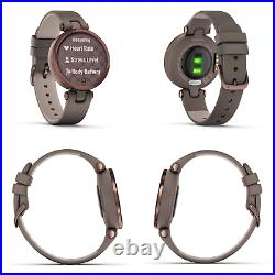 Garmin Lily Womens Smartwatch Leather Bronze with Wearable4U Power Pack Bundle