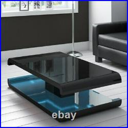 Gloss Black Coffee Table Led Lighting Set Blue Stainless Red Top Pack Steel Wood