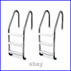 Hydrotools 3 Step In-Ground Swimming Pool Stainless Steel Ladder Steps (2 Pack)