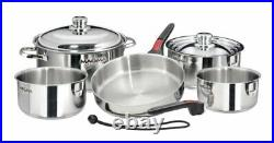 Induction Compatible Stainless Steel Gourmet Nesting Cookware Set (Pack of 10)