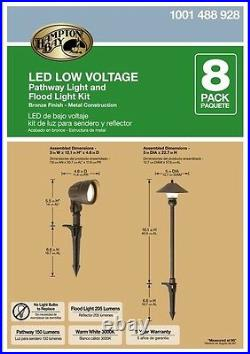 LED Light Kit Pathway Outdoor Low-Voltage Bronze Outdoor Integrated 8-Pack