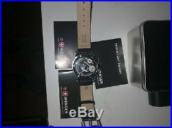Mens Wenger Sports Chronograph Watch Red & Black Leather Strap wenger Battalion