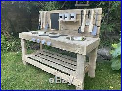 Mud Kitchen, Free Name Personalisation Double Stainless Steel Sink, NO FLAT PACK
