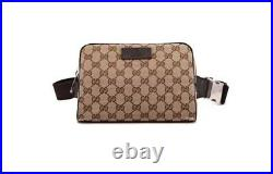 NWT Authentic Gucci GG Waist Belt Fanny Pack Cross Body Bag Canvas Leather