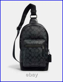 NWT COACH MEN'S West Pack In Signature Canvas Charcoal Black