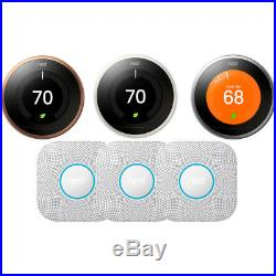 Nest Learning Thermostat 3rd Gen with 3 Pack Nest Protect Smoke and CO Alarm