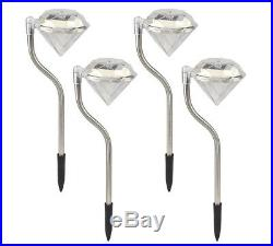 Pack Of 4 Diamond Stake Lights Stainless Steel Solar Led Powered Garden Pathway