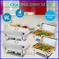 Pack Of 4 Stainless Steel Chafing Dish Sets With 4 Fuel Spoons Food Warmers