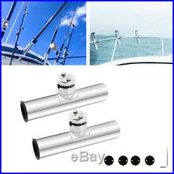 Pack of 2 Rail Mount Clamp On Rod Holder Rest Rack for Marine Boat Fishing