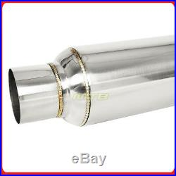Pair 10 inch Resonator Muffler Glass Pack 2.5 In/Out Stainless Steel 212380