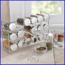 Polder 18-Jar Compact Spice Rack, Silver, 1 Pack