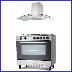 Servis 90cm Gas Range Cooker & Curved Glass Cooker Hood Pack in Stainless Steel