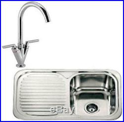 Single Bowl Stainless Steel Inset Kitchen Sink & Chrome Mixer Tap Pack ST012