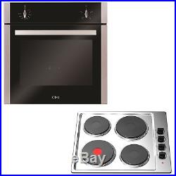 Stainless Steel CDA Electric Oven & 60cm Cookology Built-in Solid Plate Hob Pack