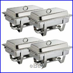 Stainless Steel Chafing Food Warmer 2Fuel Tray Set 4 Pack Buffet Catering Dish