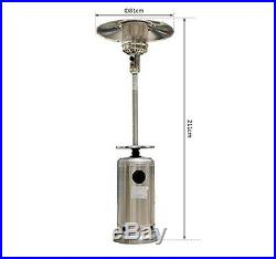 Tall Stainless Steel Gas Patio Heater Outdoor Garden Adjustable Pack Large Metal