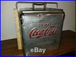 Vintage Coca Cola Stainless Steel 6 Pack Cooler Rare Coke
