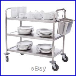Vogue 3 Tier Clearing Trolley Large Catering Stainless Steel Flat Packed