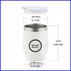 Wine Tumbler Set 20 x 6 Pack Insulated 12 OZ With Lid Stemless Tumblers White